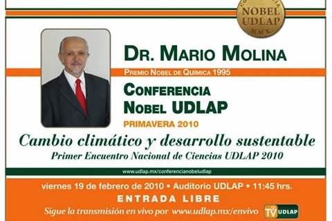 """Dr. Mario Molina en la UDLAP. Conferencia """"Cambio climático y desarrollo sustentable"""""""