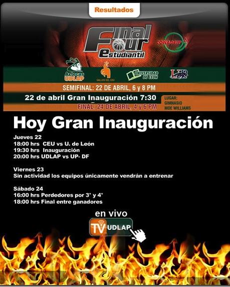 Hoy partido Aztecas UDLAP vs. UP-DF – basquetbol varonil. Apoya a tu equipo