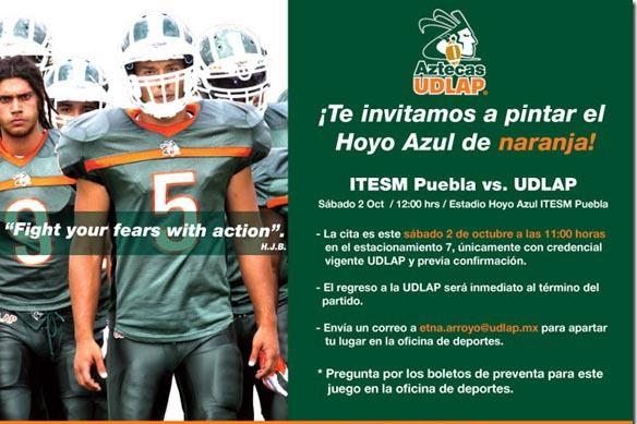 !Te invitamos a pintar el Hoyo Azul de naranja!, apoya a los Aztecas este sábado en el partido contra Borregos Puebla