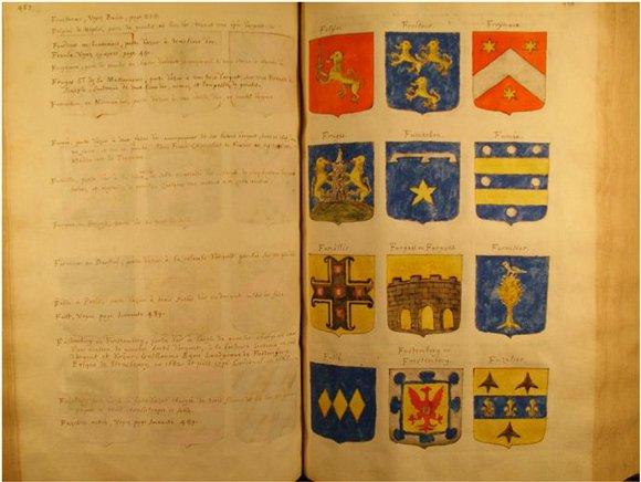 La belleza de los escudos heráldicos en un armorial francés