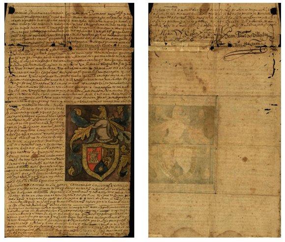 Manuscrito sobre el otorgamiento de un Escudo de Armas a Juan de Grijalva en 1538