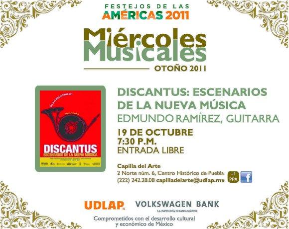 Miércoles Musicales dentro del festival Discantus en Capilla del Arte