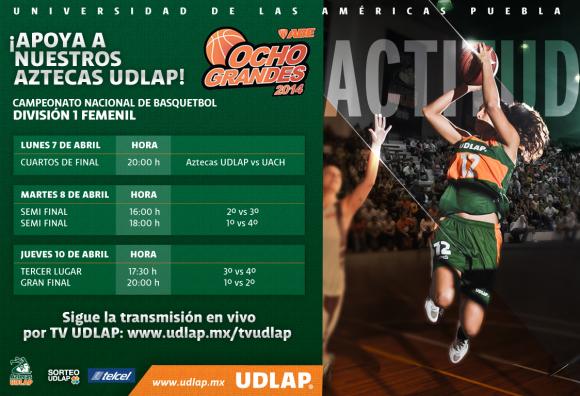 Lunes 8 de abril20 h – Aztecas UDLAP vs Adelitas UACH- FemenilMartes 8 de Abril16:00 h – Semifinal 2 Femenil18:00 h – Semifinal 1 FemenilJueves 10 de Abril17:30 h - Tercer Lugar Femenil20:00 h – Final Femenil