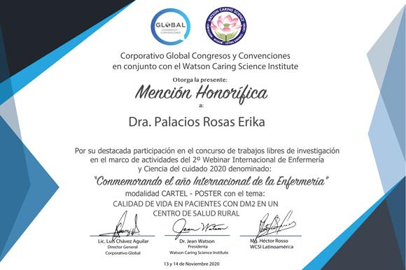 Académica de la UDLAP recibe mención honorífica otorgado por el Watson Caring Science Institute